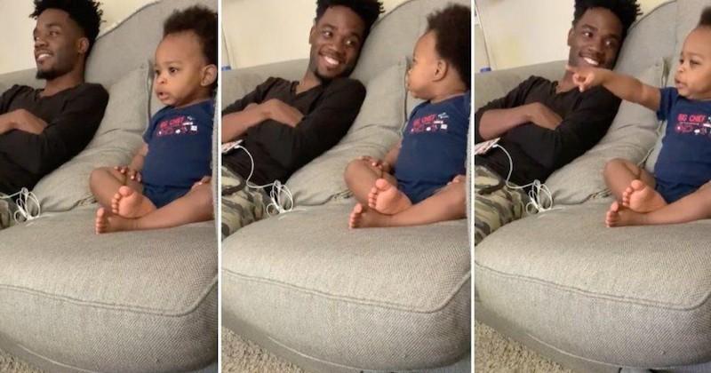 Il se filme en train de discuter avec son bébé devant la télé, et c'est trop adorable