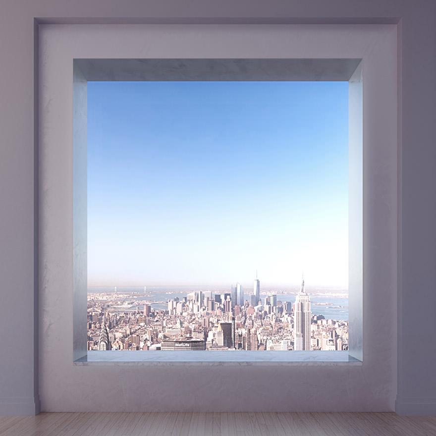 Cet appartement perch 425 m tres de hauteur au dessus for Hauteur miroir au dessus buffet