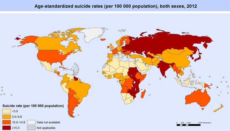 16 cartes qui vont changer votre façon de voir le monde ! La 8 est difficile à croire, mais c'est pourtant vrai ! Suicide_by_country.0