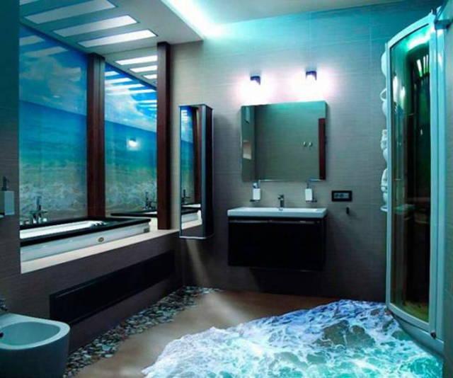 ces salles de bains sont couper le souffle elles ont des sols en 3d oui c 39 est possible. Black Bedroom Furniture Sets. Home Design Ideas