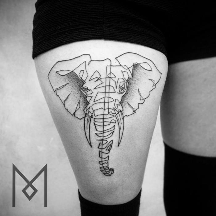 Mo Ganji est un tatoueur qui crée des oeuvres originales à partir\u2026 dun trait unique et continu  cest impressionnant !