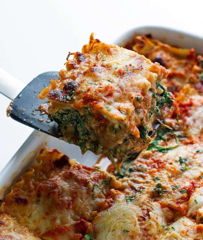 Lasagnes épinards et champignons