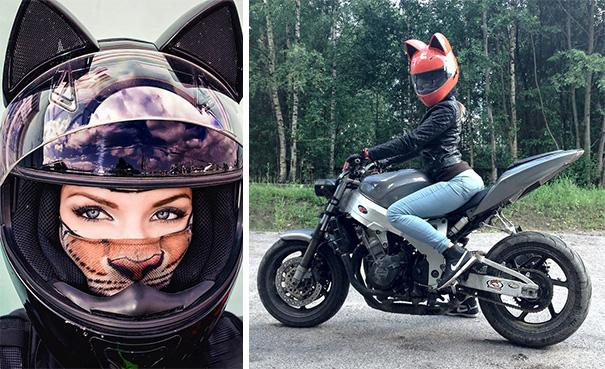 le casque moto avec des oreilles de chat vous en r viez. Black Bedroom Furniture Sets. Home Design Ideas