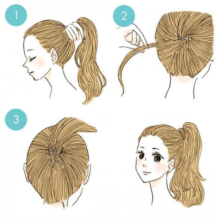Wrap some of your hair to make a high ponytail and secure with pins.