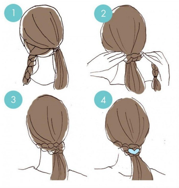 To give the impression that you have made a ponytail without elastic, surround it with a braid.
