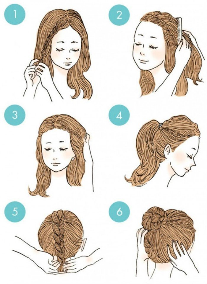 Make two small braids on the side before making a bun with your braid.