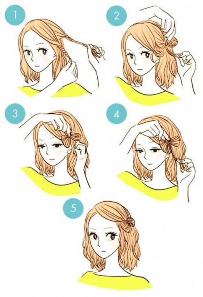 Make a pretty bow ... with only your hair. Isn't it nice?