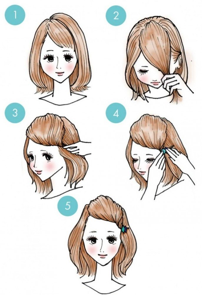 For short hair, a simple clip can give a little coquetry.