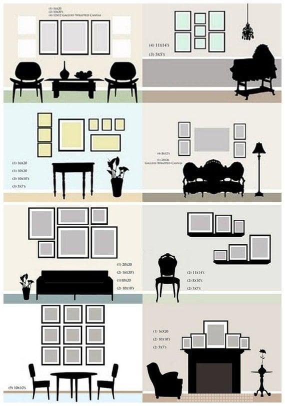 13 conseils pour accrocher vos cadres la perfection - Disposition cadre photo mur ...