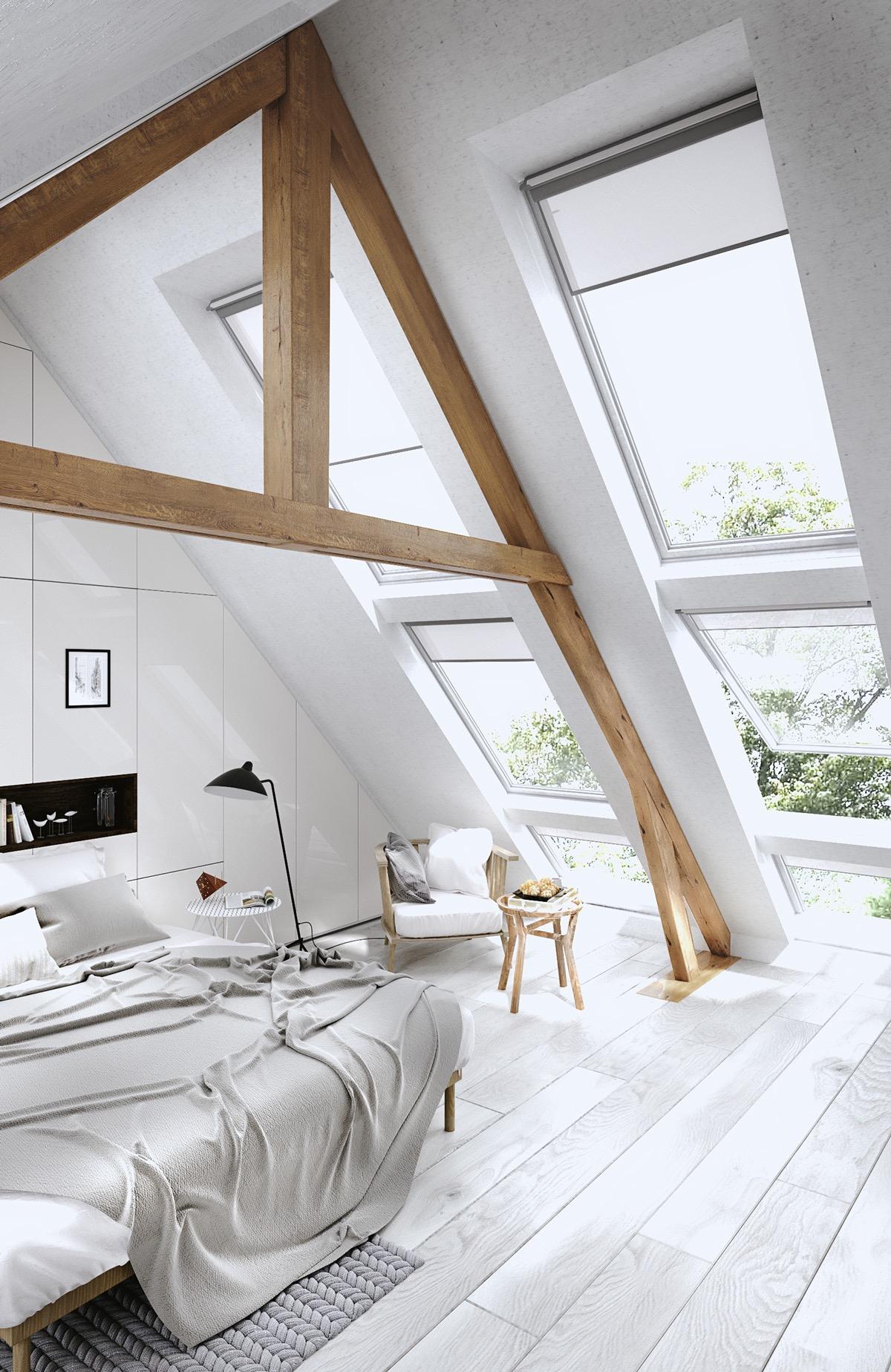 ces combles ont t transform s en de magnifiques chambres coucher de quoi donner des id es. Black Bedroom Furniture Sets. Home Design Ideas