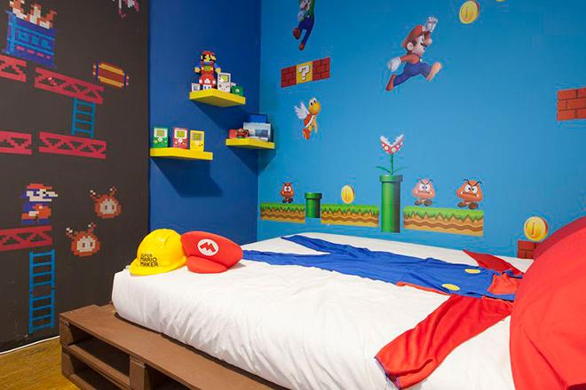 Il a re d cor enti rement sa chambre aux couleurs du jeu - Chambre mario ...