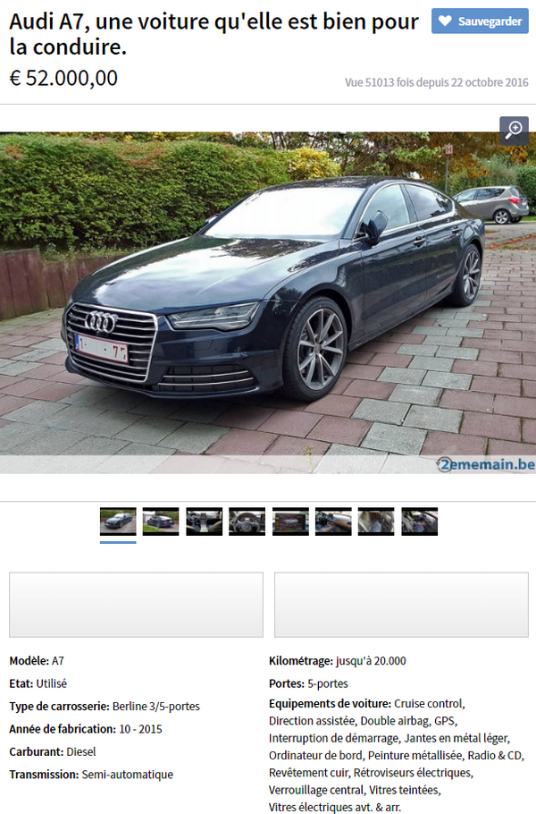 n 39 arrivant pas vendre sa voiture estim e 52 000 euros. Black Bedroom Furniture Sets. Home Design Ideas