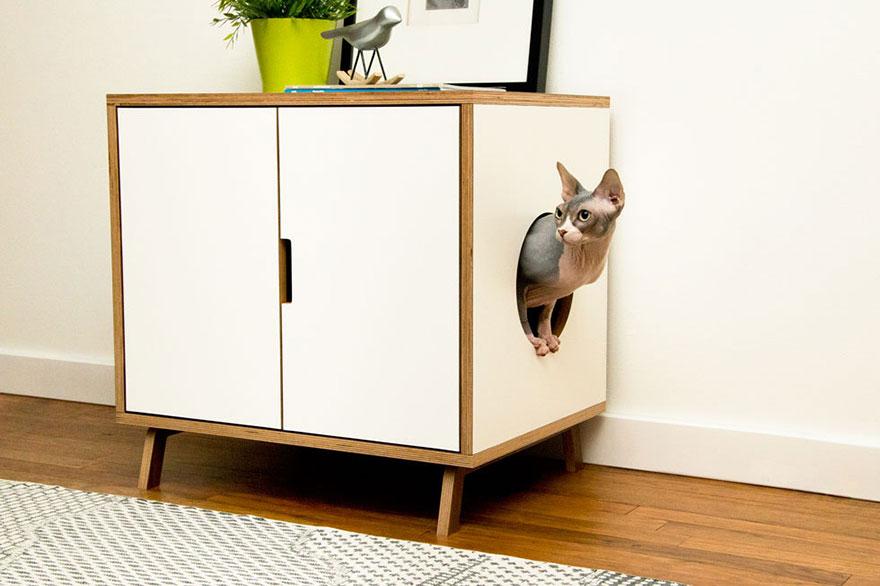 25 id es g niales de meubles sp cialement con us pour les for Meuble litiere chat