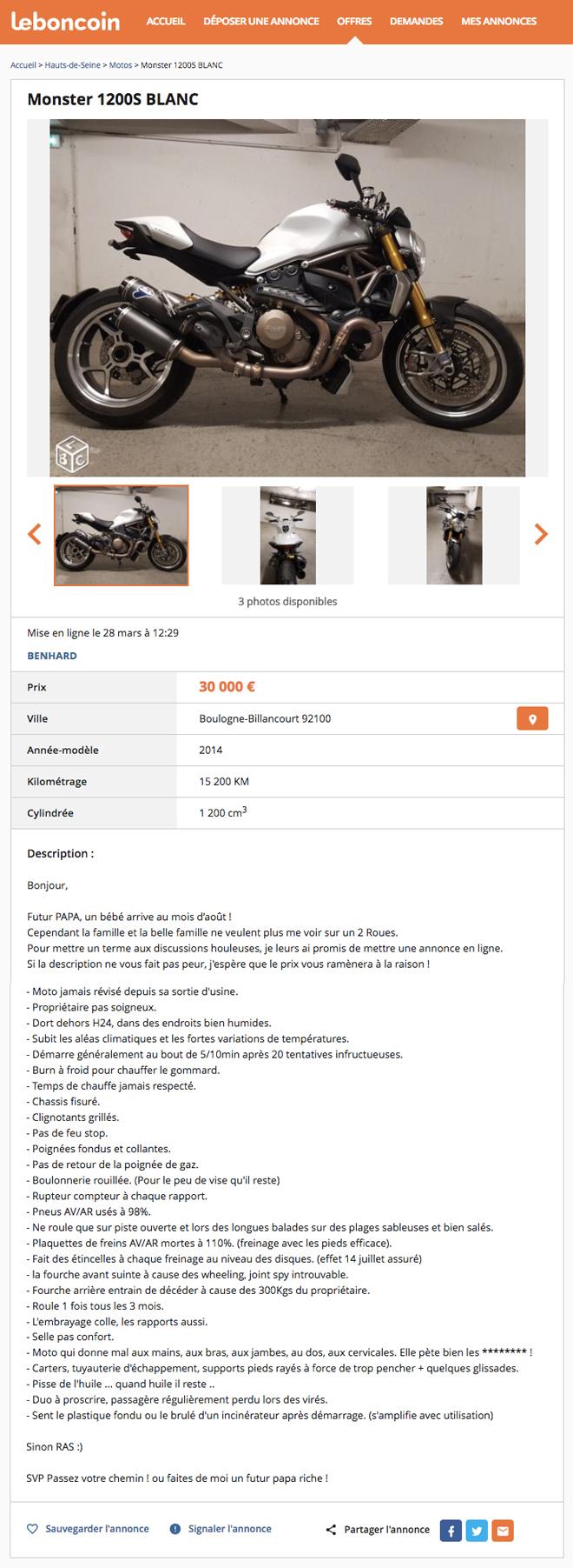 contraint par sa famille de revendre sa moto parce qu 39 il sera bient t papa il publie une. Black Bedroom Furniture Sets. Home Design Ideas