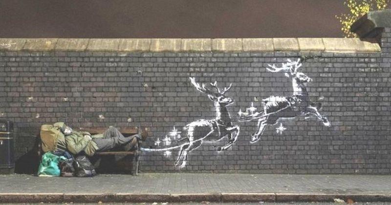 Banksy réalise une nouvelle oeuvre alertant sur la situation des sans-abri en période de Noël