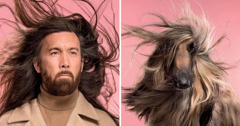 Il photographie les chiens avec leurs maîtres respectifs pour montrer à quel point ils se ressemblent