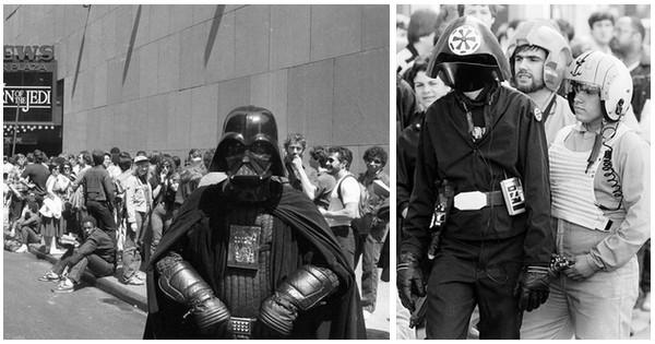 Voici plusieurs photos qui vous prouveront que les gens attendaient tout aussi fanatiquement la sortie au cinéma de Star Wars... il y a 30 ans !