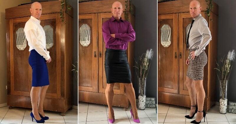 Tous les jours, il mixe sa tenue entre vêtements féminins et masculins pour contrer les stéréotypes de genre