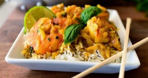 risotto de crevettes au curry !