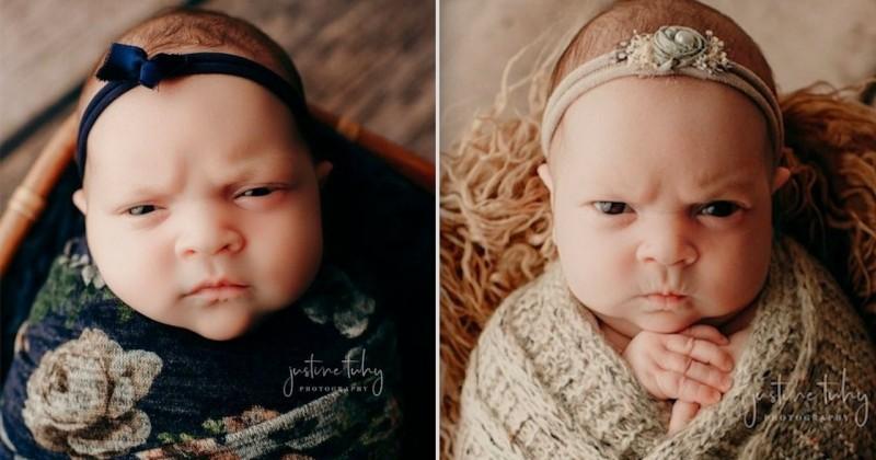 Quand un bébé boude et ne veut pas être pris en photo, ça donne une séance photo hilarante