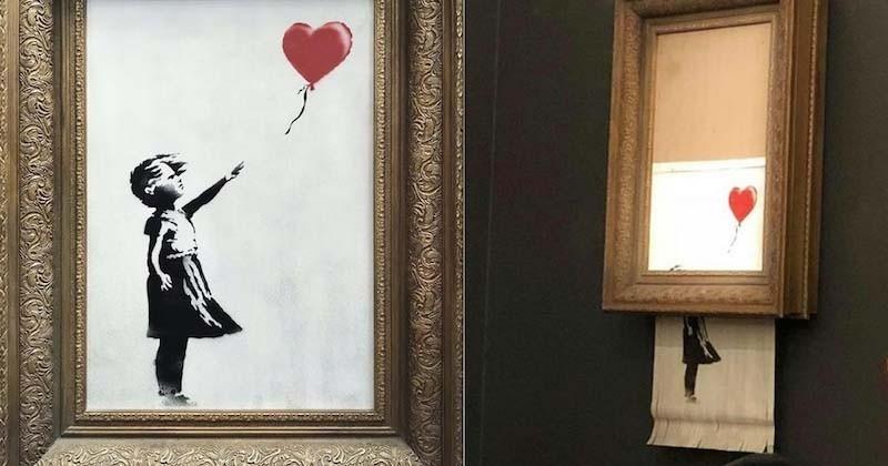 Le mystérieux artiste Banksy fait autodétruire son oeuvre lors d'une vente aux enchères