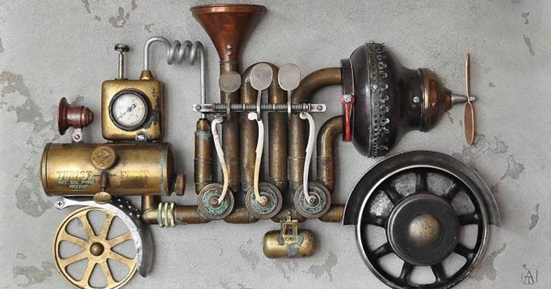 Il réalise de magnifiques sculptures steampunk à partir... de déchets métalliques !