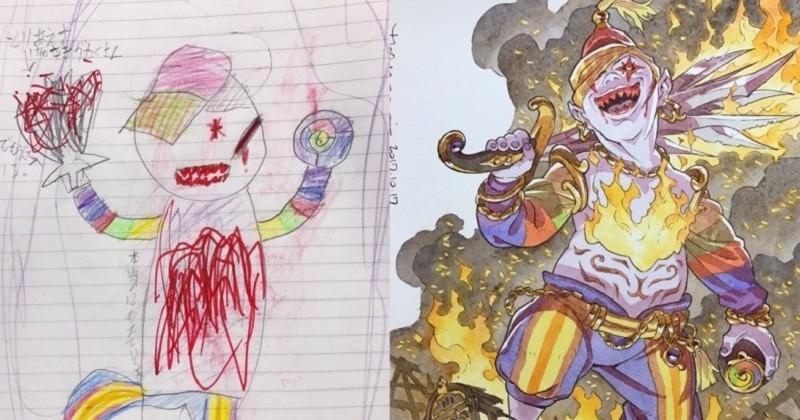 Cet artiste reprend les dessins de son fils pour en faire de véritables oeuvres d'art