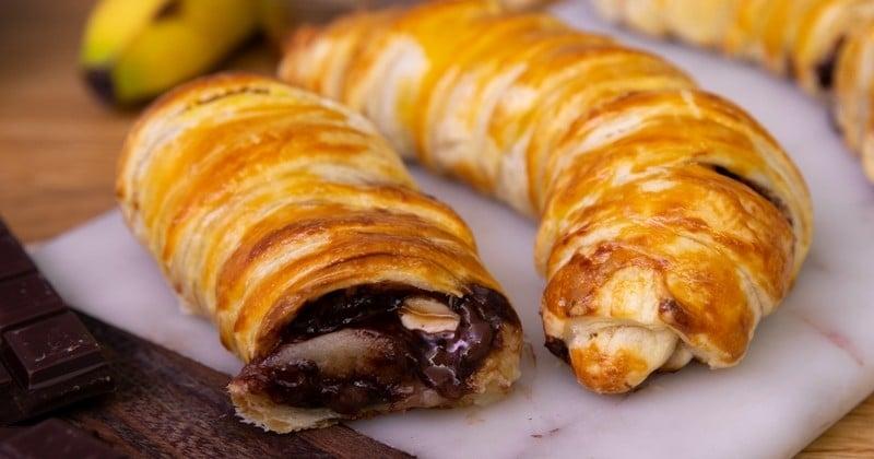 Avis aux gourmands : essayez les bananes en pâte feuilletée garnies de chocolat, caramel et cacahuètes !