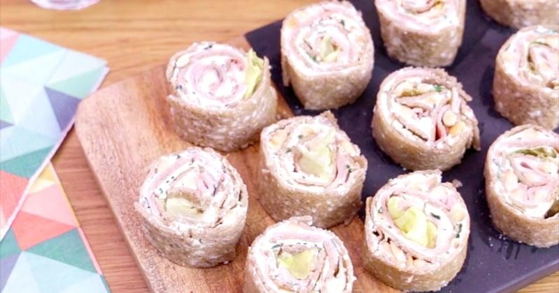 Les makis de crêpe de sarrasin au fromage frais au jambon et au cœur de laitue Bonduelle, des petites douceurs parfaites pour l'apéro
