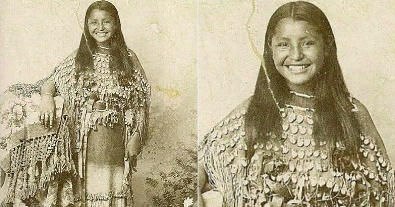 Cette photographie rare d'une jeune Amérindienne en train de sourire fascine Internet
