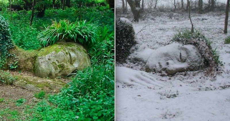 Cette statue de terre fait corps avec la nature et change d'apparence en fonction des saisons
