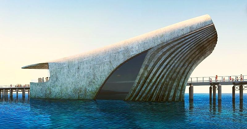 Voici l'Australian Underwater Discovery Centre, un bâtiment en forme de baleine qui permettra d'observer sous la surface de l'océan
