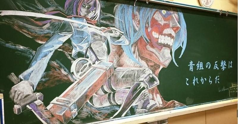 Pour motiver ses élèves, ce prof dessine d'incroyables personnages sur son tableau