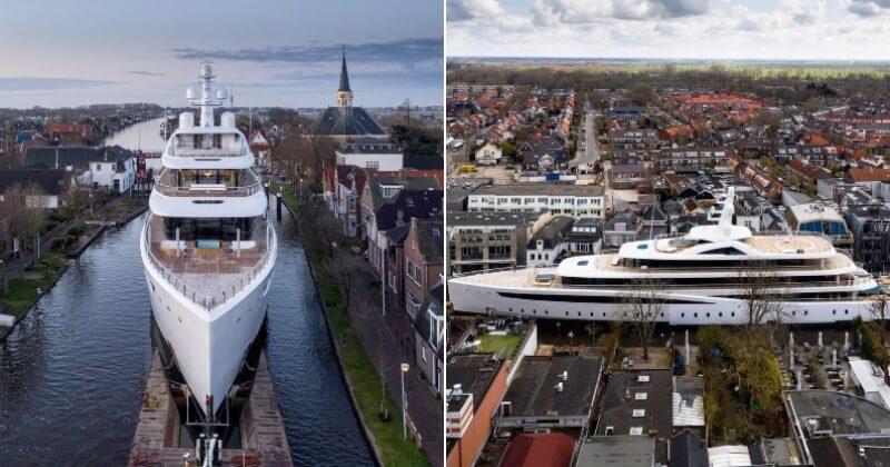 Les photos de ce yacht de 94 mètres naviguant sur les étroits canaux néerlandais sont incroyables