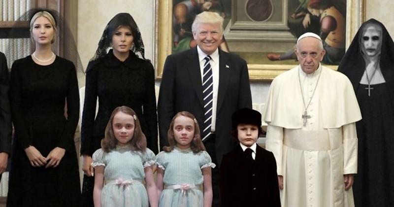 20 détournements hilarants de la photo de la rencontre entre la famille Trump et le Pape au visage déprimé