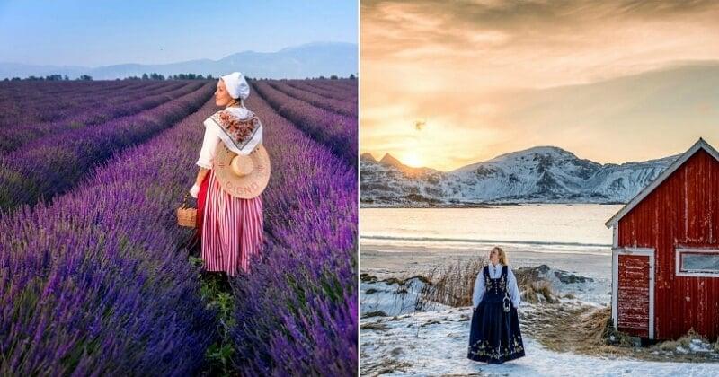 Cette voyageuse se prend en photo avec les tenues traditionnelles de chaque pays qu'elle traverse