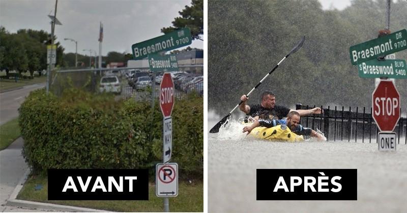 12 photos avant/après qui montrent les dégâts provoqués par la tempête Harvey au Texas