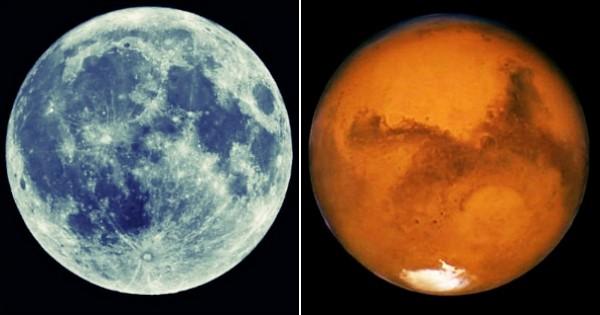 Ce week-end, la lune bleue et Mars rouge vif seront visibles en même temps dans le ciel !