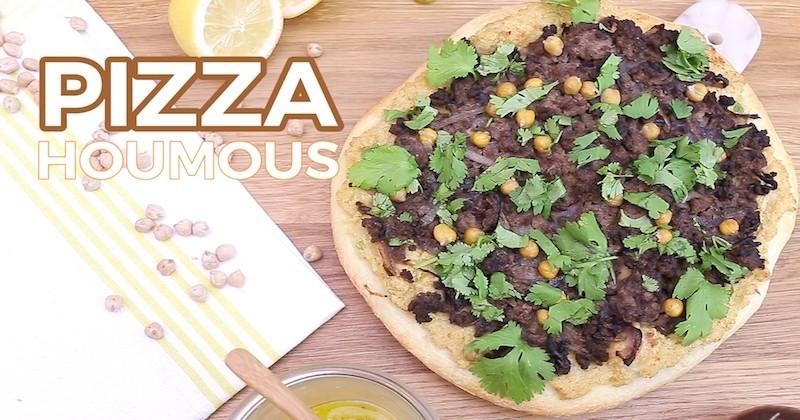Pour l'apéro, tentez la pizza au houmous et à la viande hachée, une préparation originale et plutôt parfumée