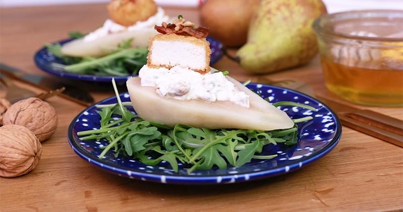 poire farcie fromage frais chèvre chaud