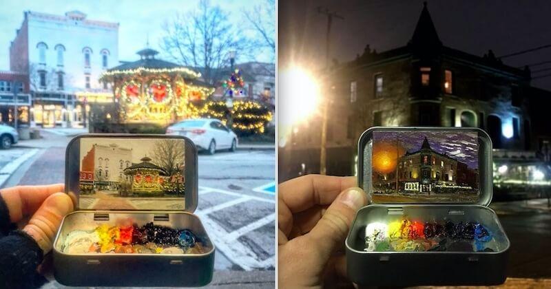 Peintes sur des petites boîtes métalliques, ces oeuvres miniatures sont d'un réalisme bluffant