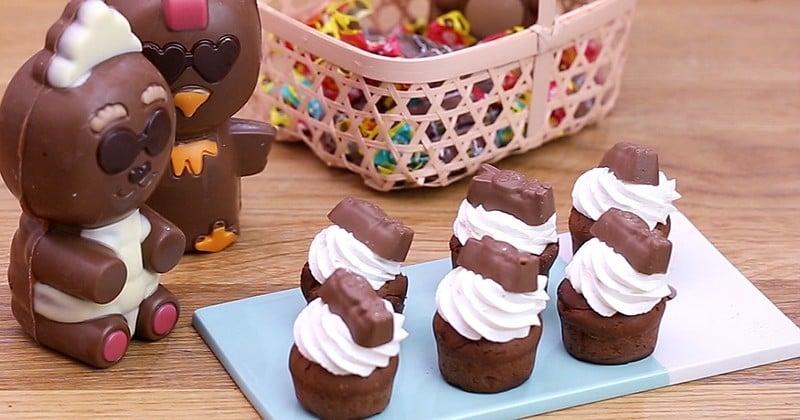 Pour Pâques, optez pour le muffin tout chocolat très gourmand garni d'une crème fouettée et d'un chocolat Cémoi