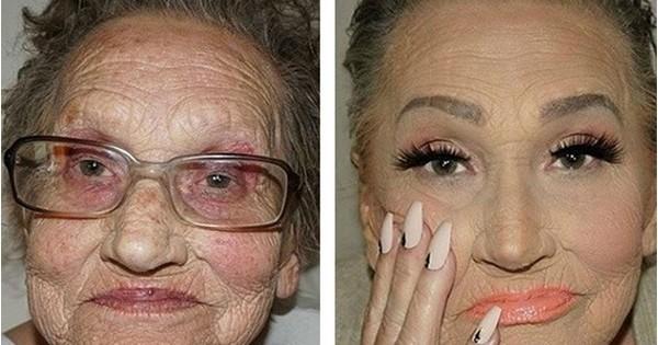 A 80 ans, elle a demandé à sa petite-fille de la maquiller pour la rendre «plus jeune»: le résultat est  incroyable!