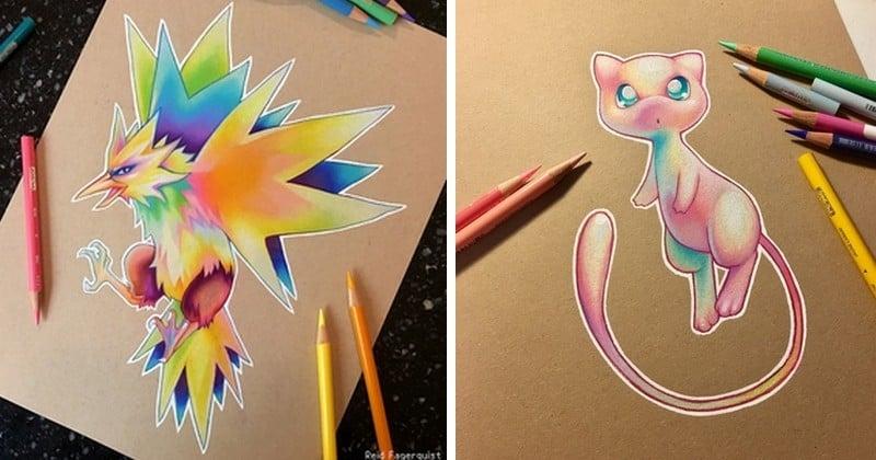 Fan de Pokémons, cette jeune Américaine leur redonne vie dans une série de dessins colorés et géométriques !