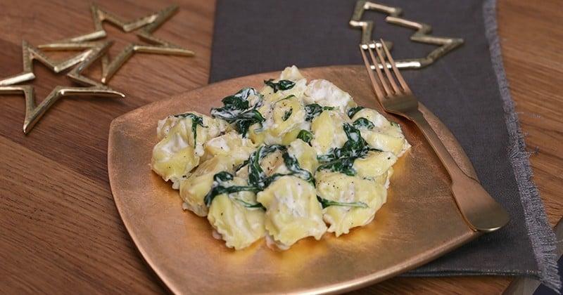 Pour accompagner des Tortellini Saumon Fumé & Fromage Frais Giovanni Rana, préparez une onctueuse sauce aux épinards et au mascarpone