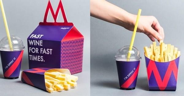 Découvrez le menu fast-food spécialement conçu pour les adultes... avec du vin et du fromage à l'intérieur !