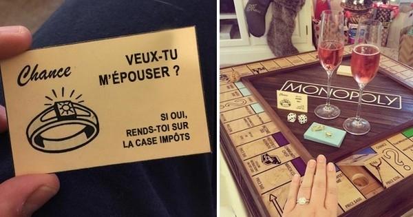 Il crée une nouvelle version du Monopoly personnalisée pour demander en mariage sa bien-aimée...  Trop mignon!