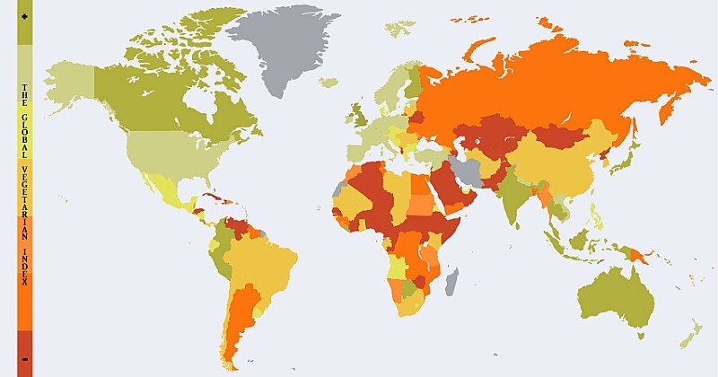 Cette carte montre les meilleurs pays du monde pour les végétariens
