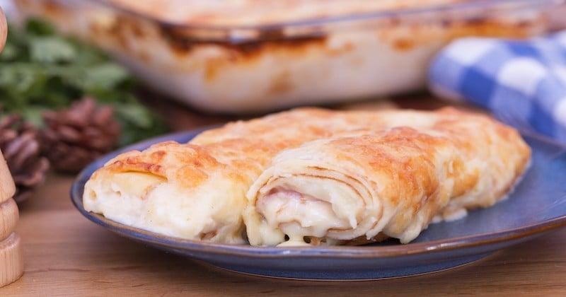 Préparez un original gratin de crêpes fourrées au jambon et au fromage à raclette!
