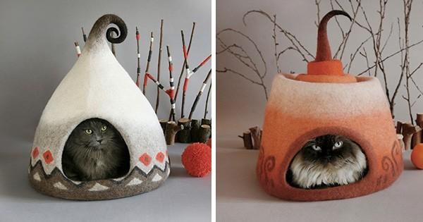 Découvrez ces maisons de chats extraordinaires réalisées à partir de simples pelotes de laine : c'est trop beau !